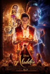 Movie poster aladdin, guy holding lamp
