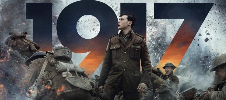 1917 movie banner army soldier staring in distance